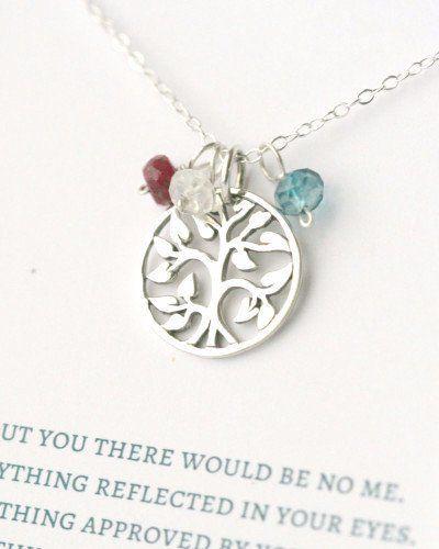 Sterling Silver Family Tree Birthstone Necklace – Belleza Mia Jewelry