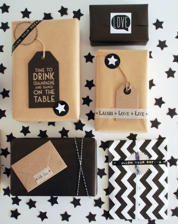 Hoe eenvoudige verpakking toch écht feestelijk kan zijn...: cadeau-inpak-ideeën in zwart/wit/bruin.