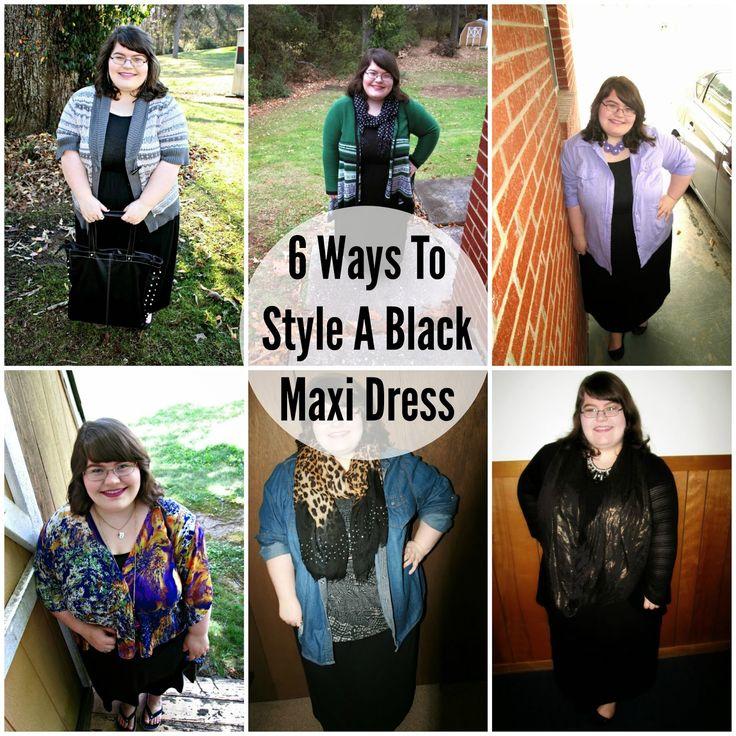 Unique Geek: 6 Ways To Style A Black Maxi Dress #plussizefashionblogger #plussizefashion #stylingideas #howto #style #fashion