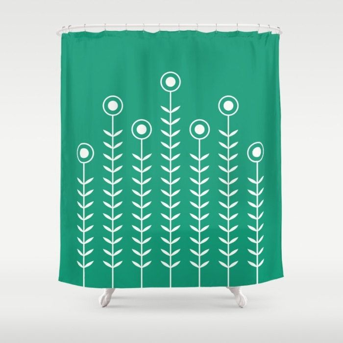 36 colours, Minimalist Flowers Shower Curtain, Scandinavian style, Emerald green geometric shower curtains, flower pattern bathroom decor by ThingsThatSing on Etsy