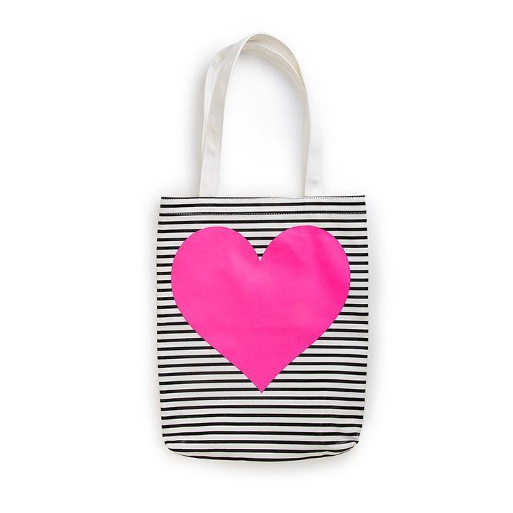 Viel schicker als ein einfacher Jutebeutel ist die Tasche mit Neon-Herz und monochromen Streifen !  Canvas tote bag neon heart - ban.do