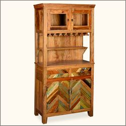 Parquet Farmhouse Reclaimed Wood Wine Rack Liquor Cabinet