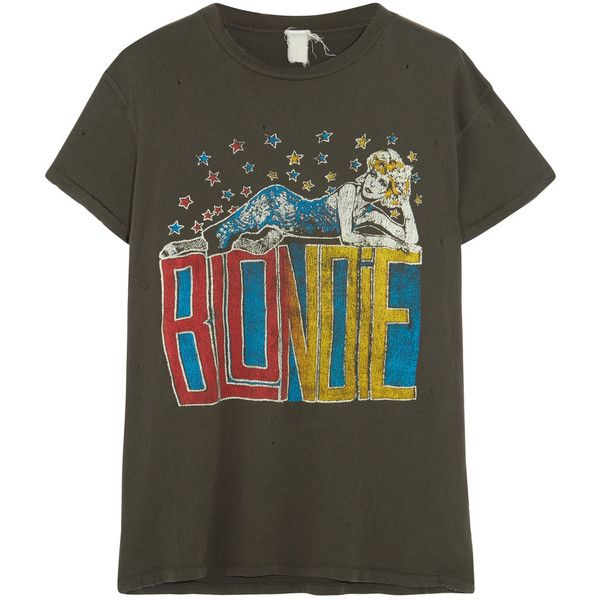 MadeWorn Blondie distressed printed cotton-jersey T-shirt ($160) ❤ liked on Polyvore featuring tops, t-shirts, black, vintage tees, vintage graphic tees, distressed graphic tee, distressed vintage tees and logo t shirts