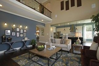 Open Floor Plan Family Room Kitchen Blue Paint Backsplash