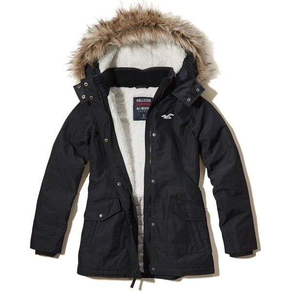 Hollister All-Weather Sherpa Lined Parka featuring polyvore, women's fashion, clothing, outerwear, coats, black, parka coat, quilted parka coat, faux coat, quilted parka and quilted coat