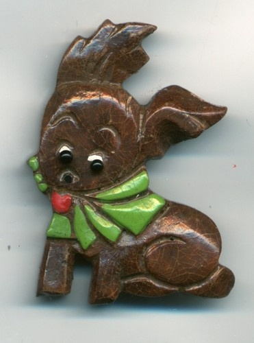 Wooden Puppy with Green Bow PIN