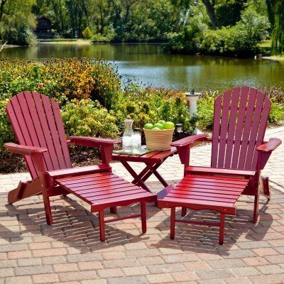 Big Daddy Adirondack Chair set with FREE Side Table- Red by Big Daddy. $259.99. Chairs boast pull-out ottoman and reclined back. Vibrant red finish. Big Daddy Adirondack Chair set with FREE Side Table- Red. Chairs fold for easy storage. Sturdy Asian fir construction. The Two Big Daddy Adirondack Chair Set with FREE Side Table - Red is a fabulous aid in cherishing the company of your favorite person whilst sipping a beverage in the open air. Rest your weary bones and...
