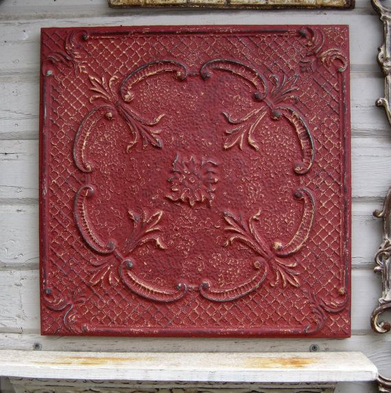 2 X2 Framed Antique Ceiling Tin Tile Circa 1910