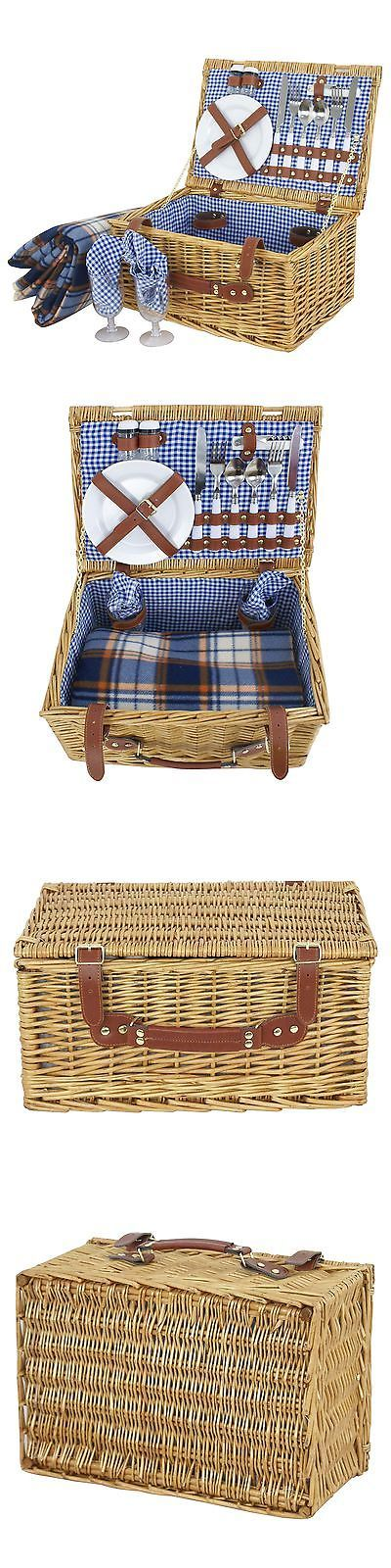 Picnic Baskets and Backpacks 38249: New Wicker Picnic Basket Set For 2 Brown 16 Pcs Wine Glasses Vintage Styling -> BUY IT NOW ONLY: $43.99 on eBay!