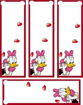 Valentine Daisy Duck Bookmark, Valentines, Bookmarks - Free Printable Ideas from Family Shoppingbag.com