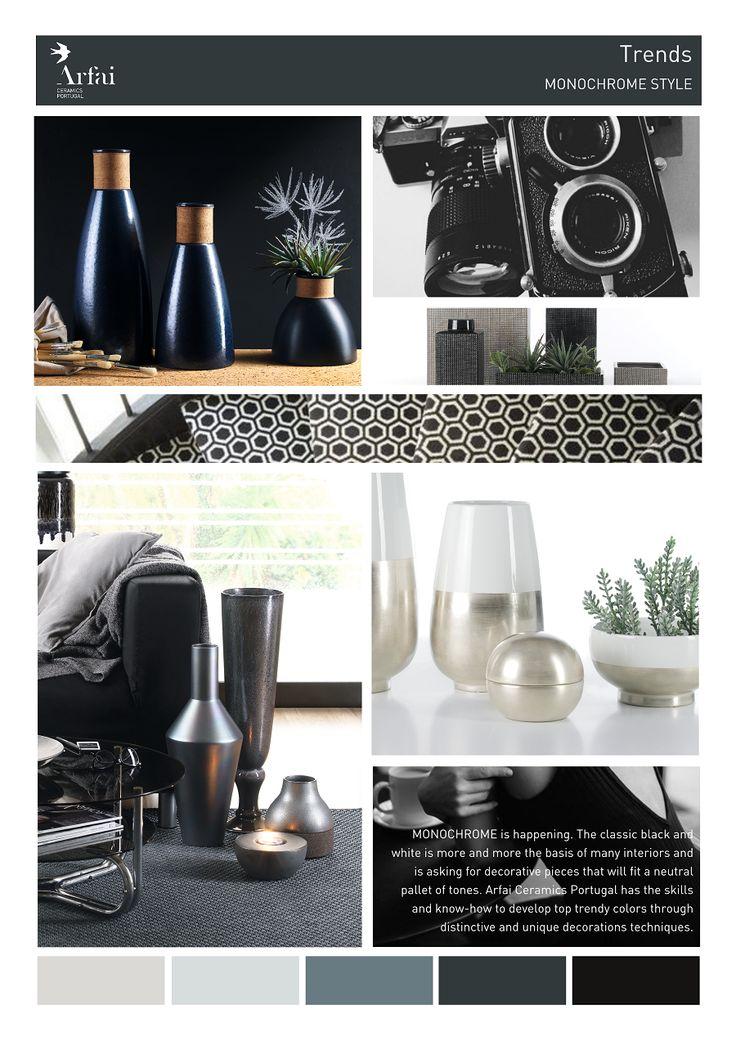 MONOCHROME STYLE | Trends by Arfai Ceramics Portugal #monochrome #trends #ceramics #black #white #blackandwhite #decor #moodboard