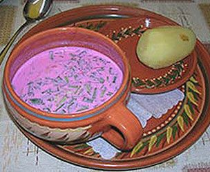 """Chlodnik soup - """"Its preparation starts with young beets (…). After cooling down, the soup is usually mixed with sour cream, soured milk, kefir or yoghurt (…). Typically, raw chopped vegetables such as radishes or cucumbers are added and the soup is garnished and flavored with dill or parsley. The soup has a rich pink color."""" — Wikipedia"""
