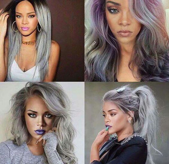 Rihanna couleur de cheveux gris