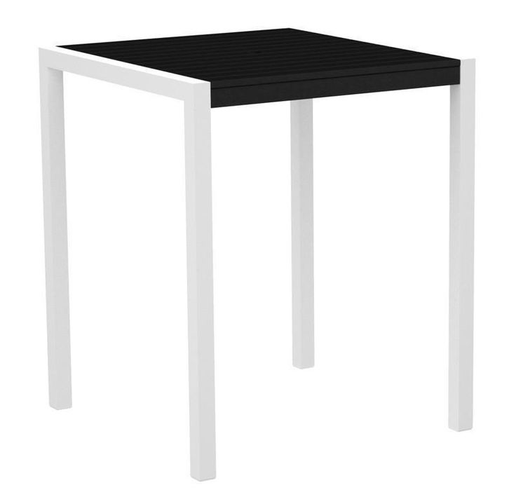 """Polywood 8102-13BL MOD 36"""" Bar Table in Textured White Aluminum Frame / Black"""