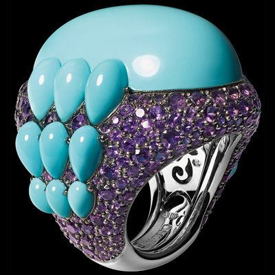 DE GRISOGONO Ring in white gold with amethysts and turquoises