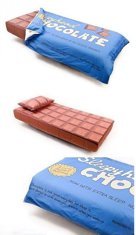 Real bed that looks like a giant chocolate bar, complete with wrapper.