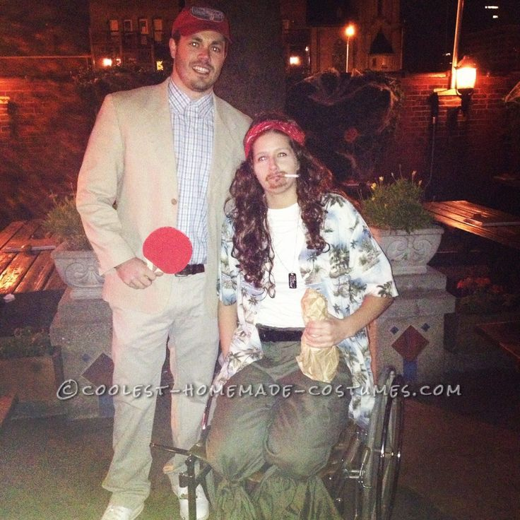 Funny Homemade Couple Costume Idea: Forrest Gump and Lt. Dan... Coolest Homemade Costumes