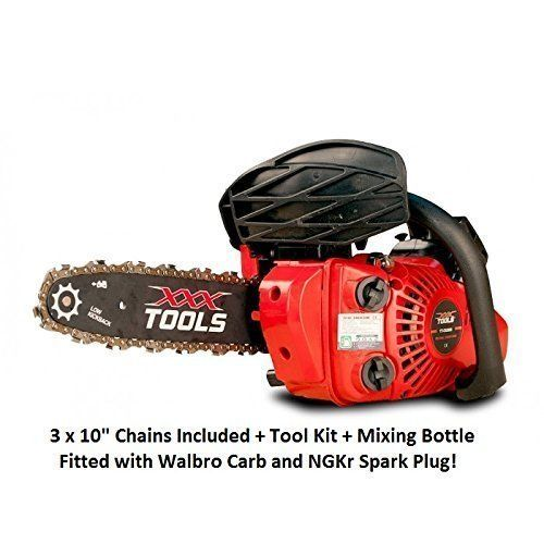 """A lightweight petrol chainsaw with a 25cc engine and 10"""" bar should prove up to the job for most home users, good size for cutting up smaller diameter logs ready for splitting. Comes with 3 chains, tool kit and mixing bottle"""