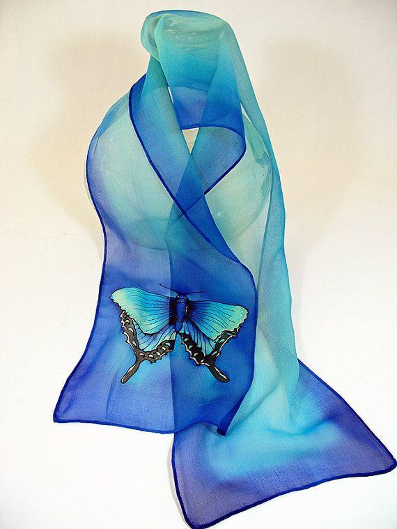 Butterfly Silk Scarf. Blue Silk Scarf. Handmade silk by SirenSilks