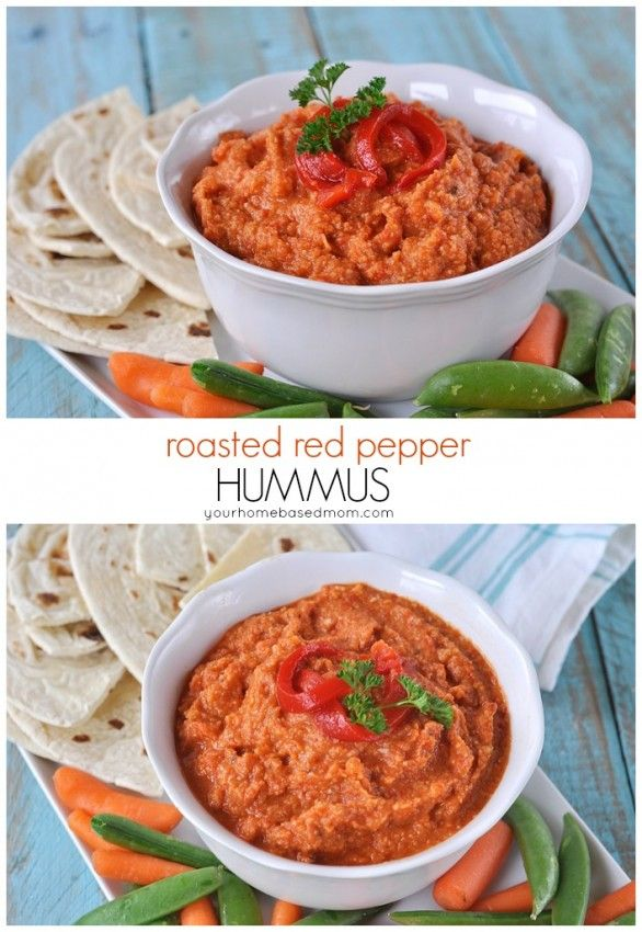 Roasted Red Pepper Hummus is a perfect Healthy Snack