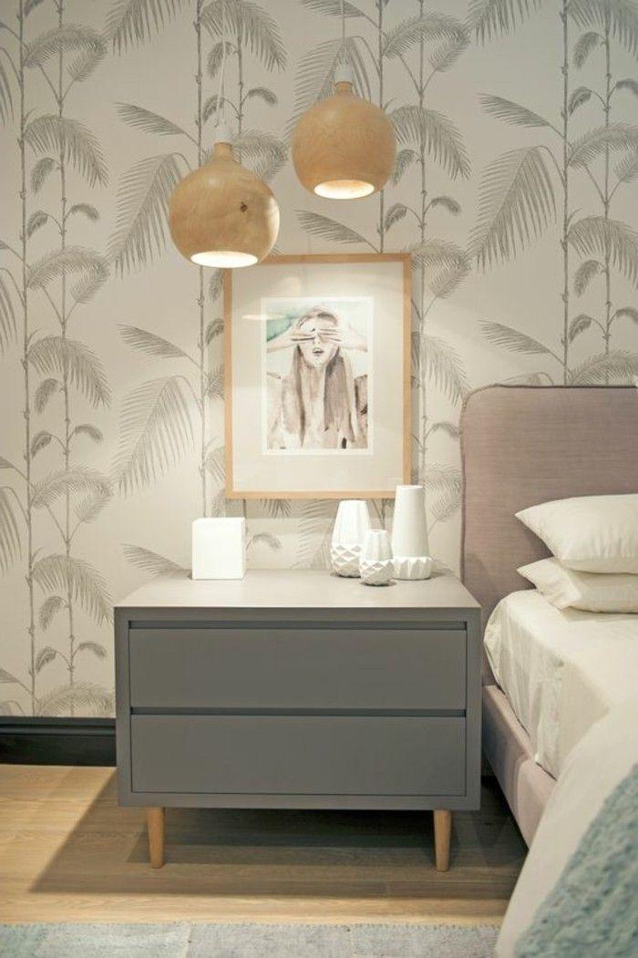 chantemur papier peint, lit dans la chambre a coucher, lit double