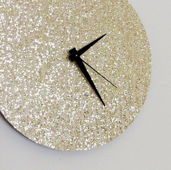 Unique Wall Clock, Gold Glitter Clock, Great Gatsby, Quiet Clock, Home and Living, Decor  Housewares, Living Room Decor, Unique Gift