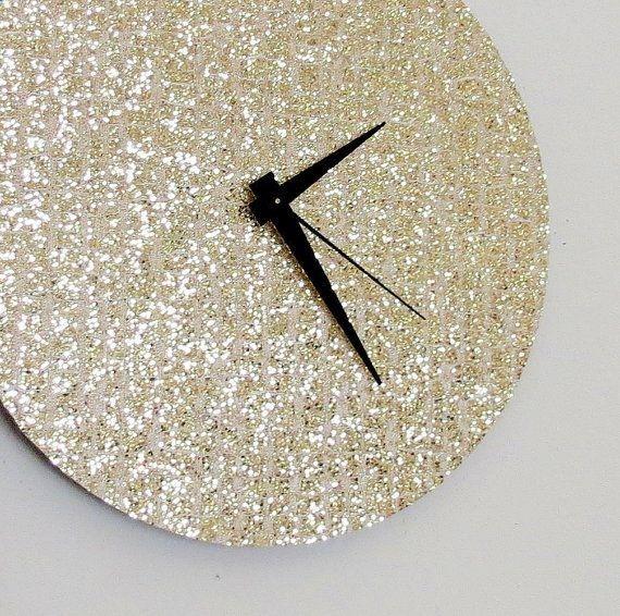 Unique Wall Clock, Gold Glitter Clock, Great Gatsby, Quiet Clock, Home and Living, Decor  Housewares, Living Room Decor, Unique Gift