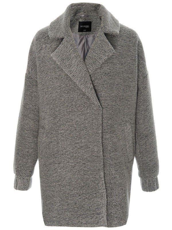 płaszcz damski  długość regularna jasnoszary - SPZ0299 TOP SECRET