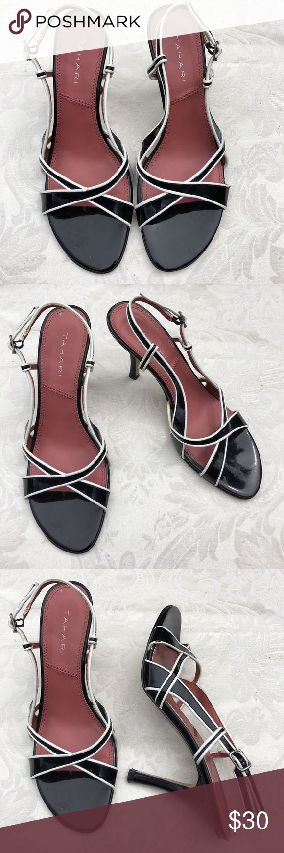 """Tahari """"Taboo"""" Black/White Strappy Shoes 7.5M 7.5M Tahari """"Taboo"""" Black and White Strappy Patent Leather Sandals Shoes. 3 1/2"""" Heels pre-owned in excellent condition. Tahari Shoes Heels"""