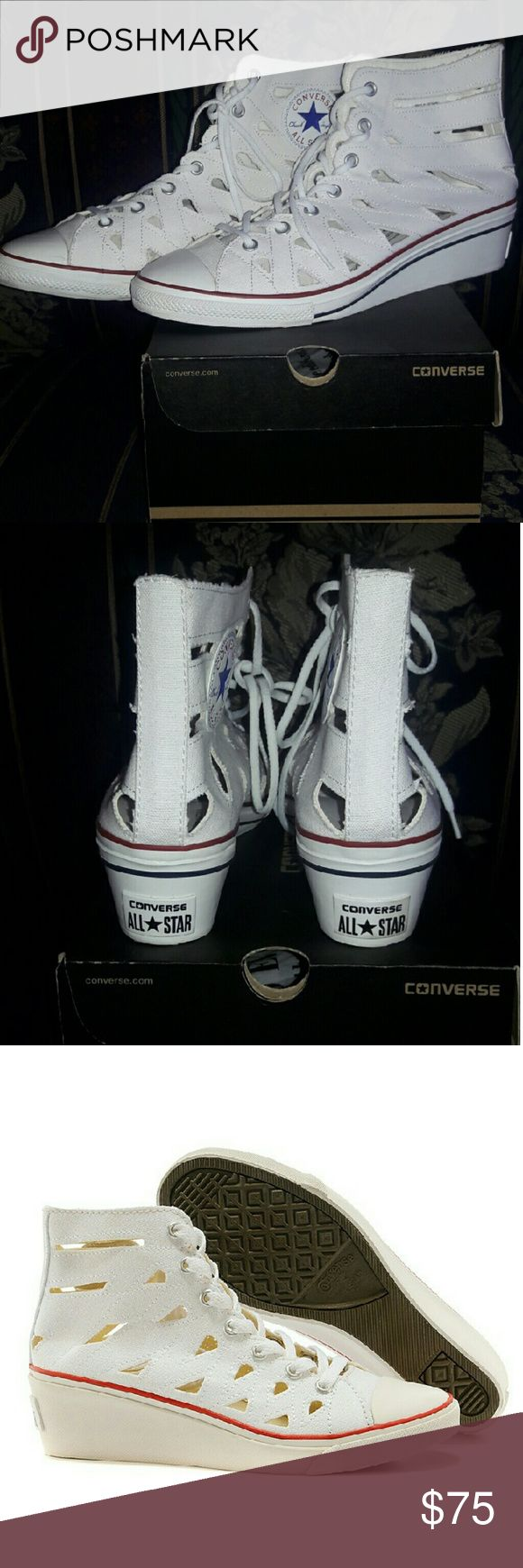 "CONVERSE CHUCK TAYLOR HI NESS CUTOUT SNEAKERS New Converse Chuck Taylor All Star Hi Ness Cutout Wedge Sneaker. The Hi Ness Cutout mid-top sneaker has a raised wedge heel. New, never worn. Size: 11M Color: White Canvas upper Lace-up closure Cutout detailing Chuck Taylor All Star patch logo Rubber cap toe Canvas lining Cushioned footbed 1 3/4"" wedge heel Converse Shoes Sneakers"