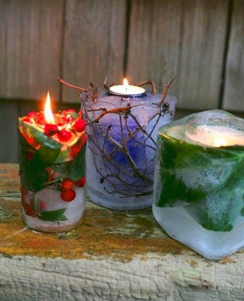 Frozen Garden Candles, free garden decor, DIY winter decor, ice decor, easy decor
