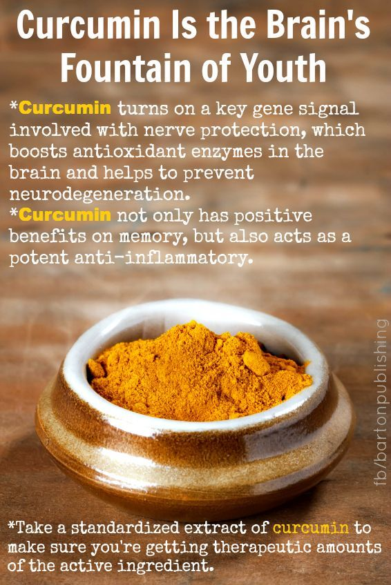"Best turmeric supplement: tumeric extract Jarrow curcumin Curcumin is the Brain's Fountain of Youth Infographic ""Curcumin turns on a key gene signal involved with nerve protection, which boosts antioxidant enzymes in the brain and helps to prevent neuro-degeneration."""