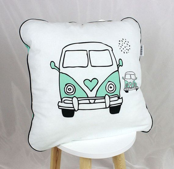 Pillow Baby Bedding Pillows Decorative Pillow Bed Pillows Mint White Bus Camper…
