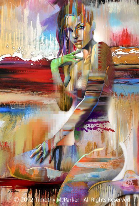 "Figure Art Painting - Artist Tim Parker ""Vivid"" Abstract Figurative Artwork Print"