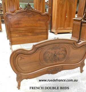 ANTIQUE FRENCH CARVED WALNUT DOUBLE BED -- LOUIS XV STYLE - Over 20 to choose from -See our web site --  www.ruedefrance.com.au