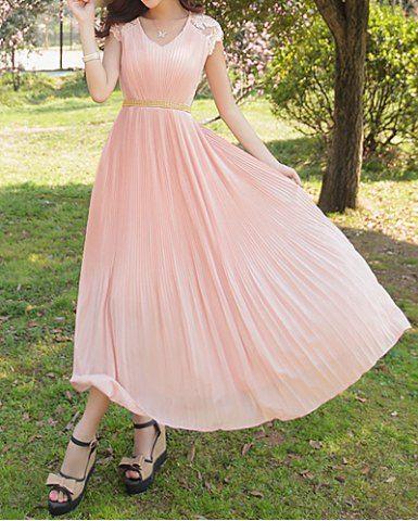 $24.27   Bohemian V-Neck Lace Embellished Short Sleeve Chiffon Dress For Women