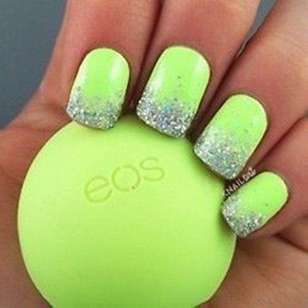 Glitter Tips Lime Green Nail Design