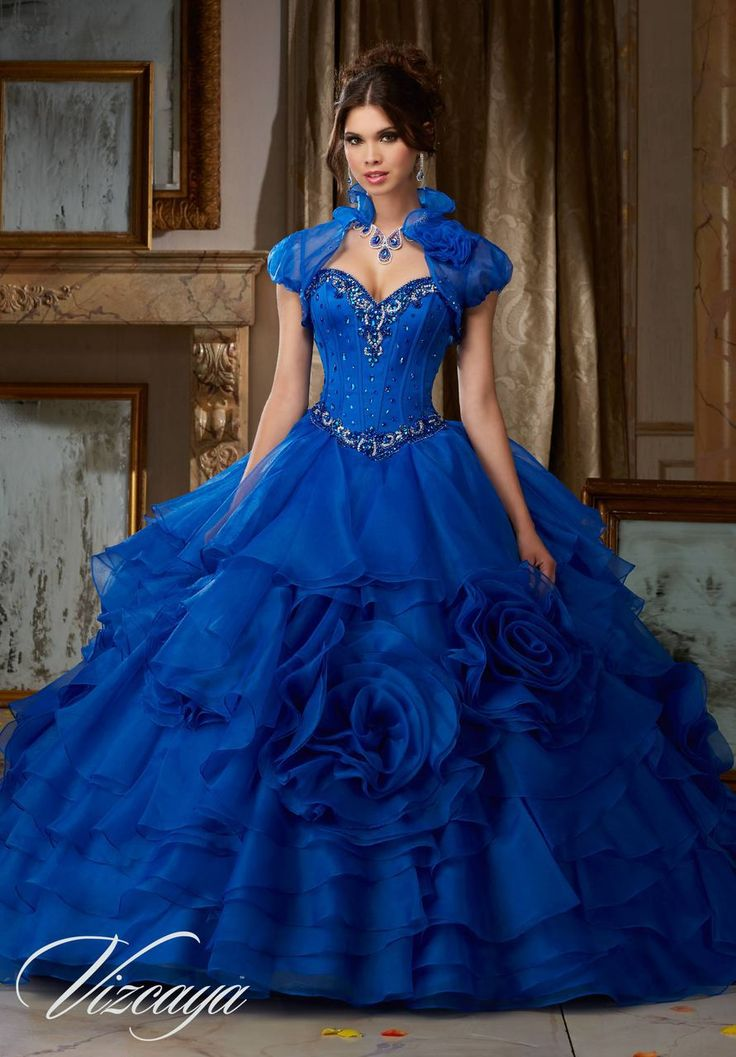 Jeweled Satin Bodice on Flounced Organza Ball Gown #89105BL - Joyful Events Store #quincedress #xvdress #morilee #valencia #quinceañeradresses #misxv