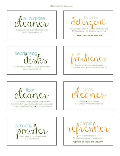 Green Cleaning Printable Labels PLUS RECIPES for your spray bottles, jars and containers.