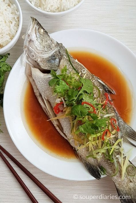 Cantonese-style steamed fish with delicious soy sauce dressing. Topped with fresh cilantro, ginger, chili and spring onions.