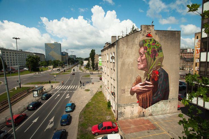 Mural in Łódź. Made by Etam Cru