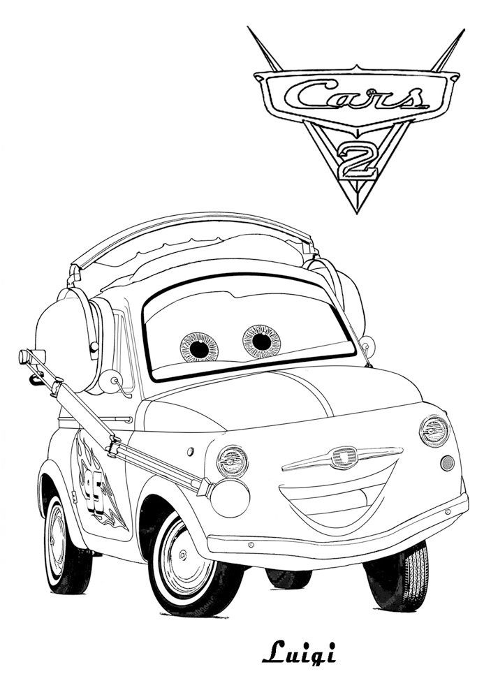 Coloriage Cars 2 Luigi Livre De Coloriage In 2019