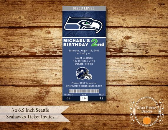 3 x 6.5 Inch Seattle Seahawks Ticket Invite by SilverPumpkinDesign