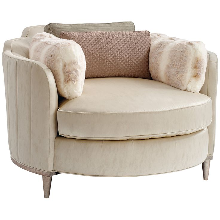 This casually elegant round chaise offers simple, repeating design elements…