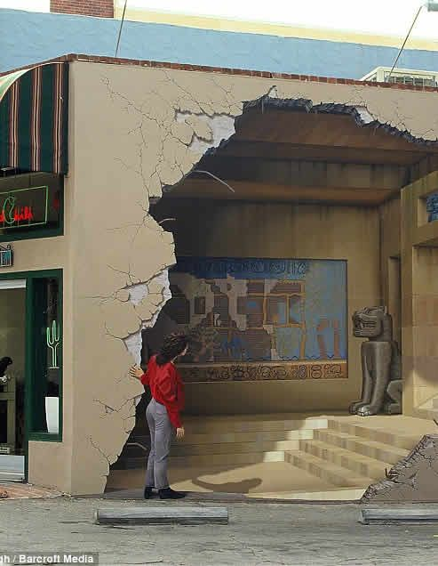 ~artist John Pugh~ Main Street, Los Gatos, California. Even the woman peering into the ruin is part of the mural.