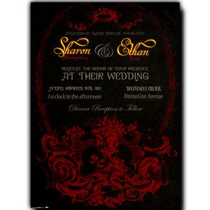 Goth Wedding Invitation -  Halloween Wedding Invitation, Vampire Glam Wedding