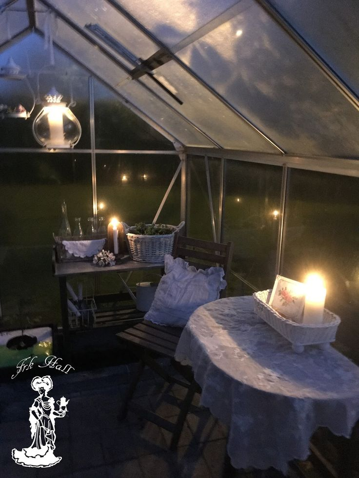 My lovely romantic shabby chic greenhouse,shed by night in my beautiful garden