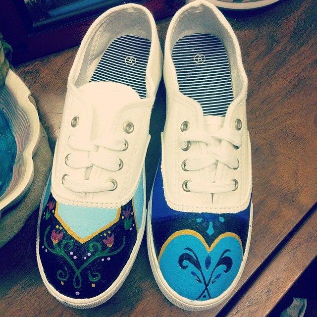 Disney's Frozen hand painted shoes https://www.facebook.com/KreativeKicksFootwear?ref=hl