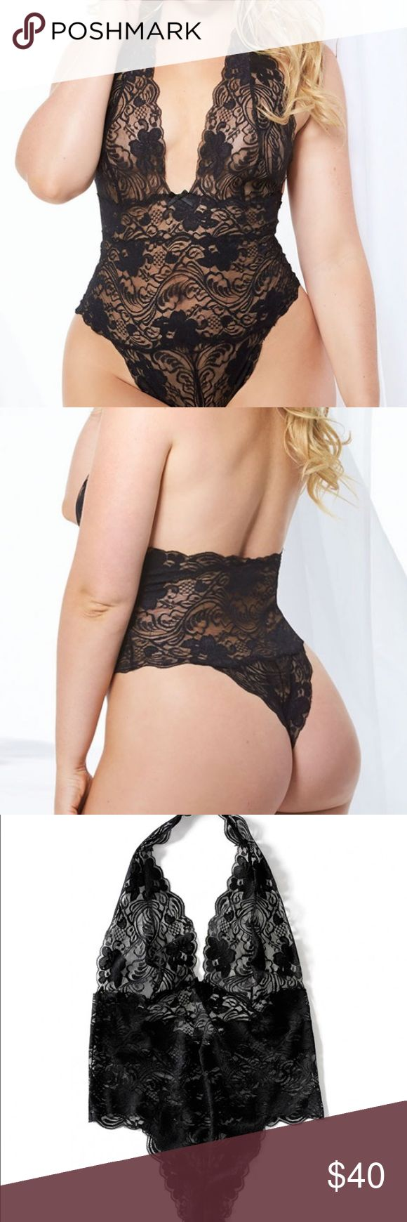 Plus size lingerie bodysuit This bodysuit is so comfortable and sexy. Never worn. Black lace. Stretchy size it says 3x but fits like a size 18 Intimates & Sleepwear Chemises & Slips