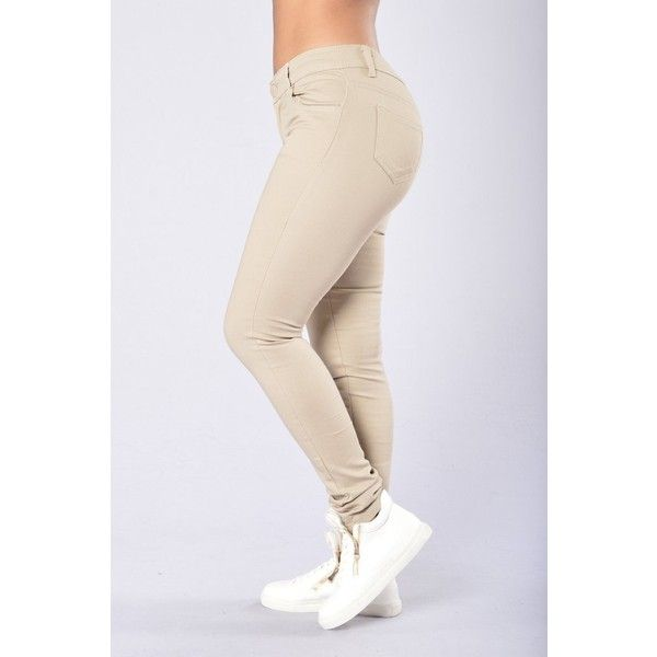 Skinny Uniform Pants Khaki ($15) ❤ liked on Polyvore featuring pants, cotton skinny pants, skinny trousers, straight leg khaki pants, khaki pants and skinny pants